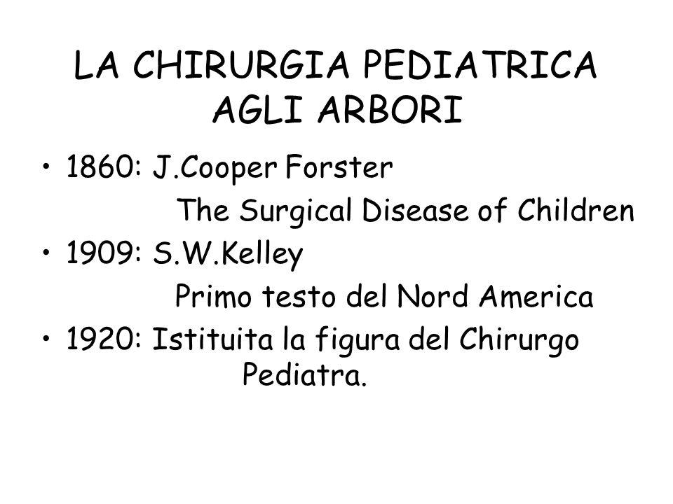 LA CHIRURGIA PEDIATRICA AGLI ARBORI 1860: J.Cooper Forster The Surgical Disease of Children 1909: S.W.Kelley Primo testo del Nord America 1920: Istitu