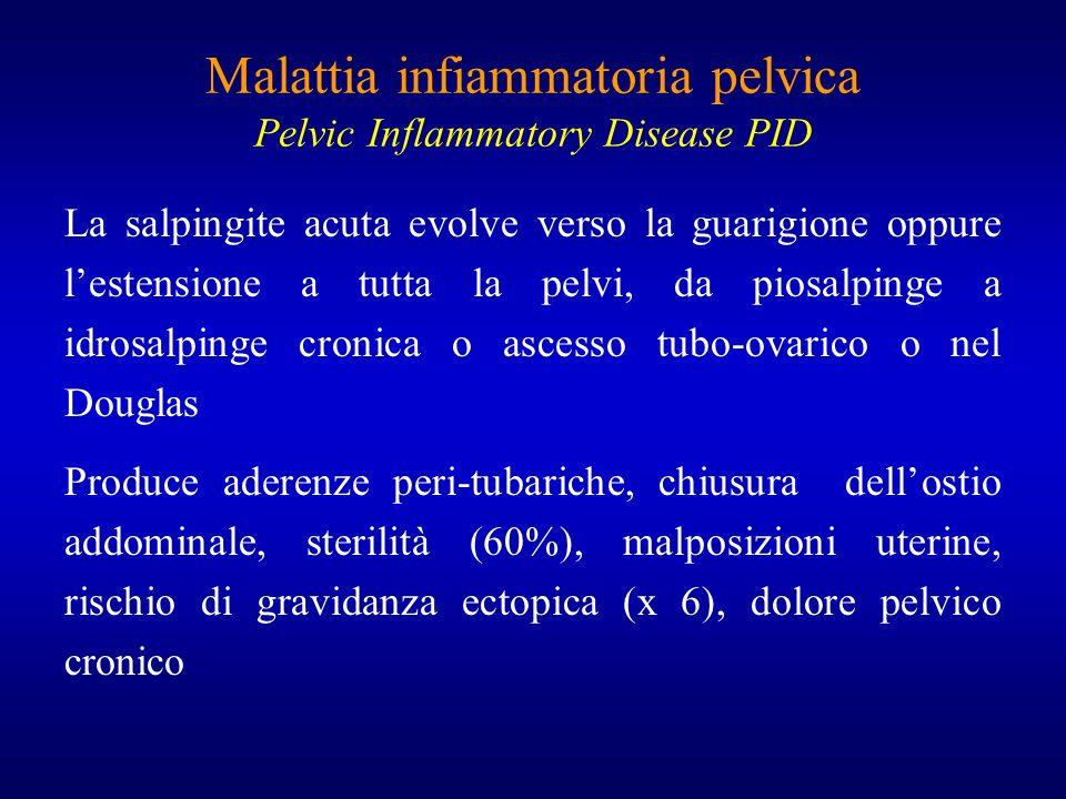 Malattia infiammatoria pelvica Pelvic Inflammatory Disease PID La salpingite acuta evolve verso la guarigione oppure lestensione a tutta la pelvi, da