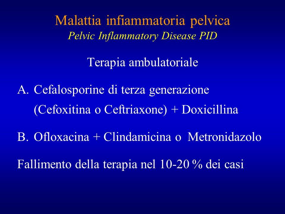 Malattia infiammatoria pelvica Pelvic Inflammatory Disease PID Terapia ambulatoriale A.Cefalosporine di terza generazione (Cefoxitina o Ceftriaxone) +