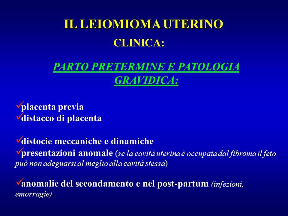 placenta previa distacco di placenta distocie meccaniche e dinamiche presentazioni anomale (se la cavità uterina è occupata dal fibroma il feto può no