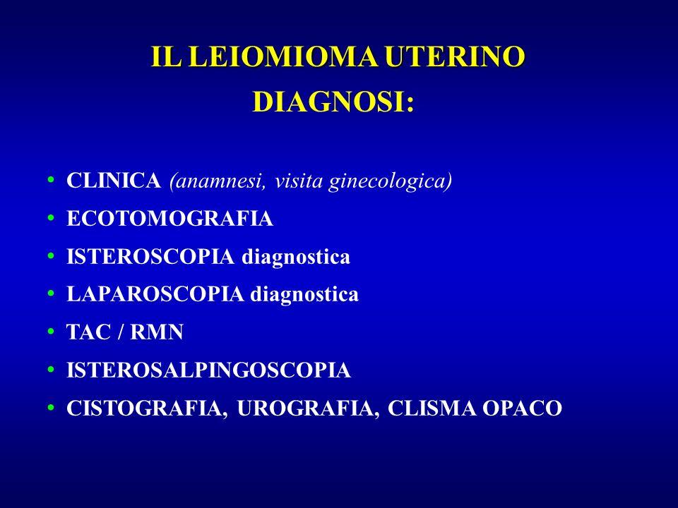 DIAGNOSI: CLINICA (anamnesi, visita ginecologica) ECOTOMOGRAFIA ISTEROSCOPIA diagnostica LAPAROSCOPIA diagnostica TAC / RMN ISTEROSALPINGOSCOPIA CISTO