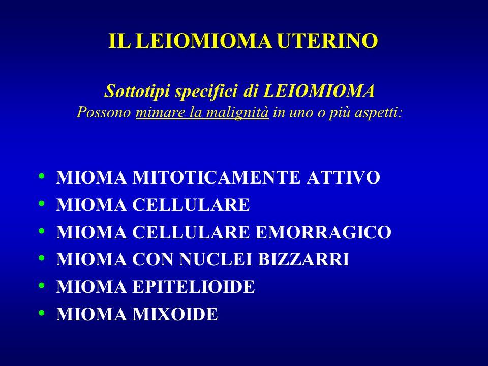 Sottotipi specifici di LEIOMIOMA Possono mimare la malignità in uno o più aspetti: MIOMA MITOTICAMENTE ATTIVO MIOMA CELLULARE MIOMA CELLULARE EMORRAGI
