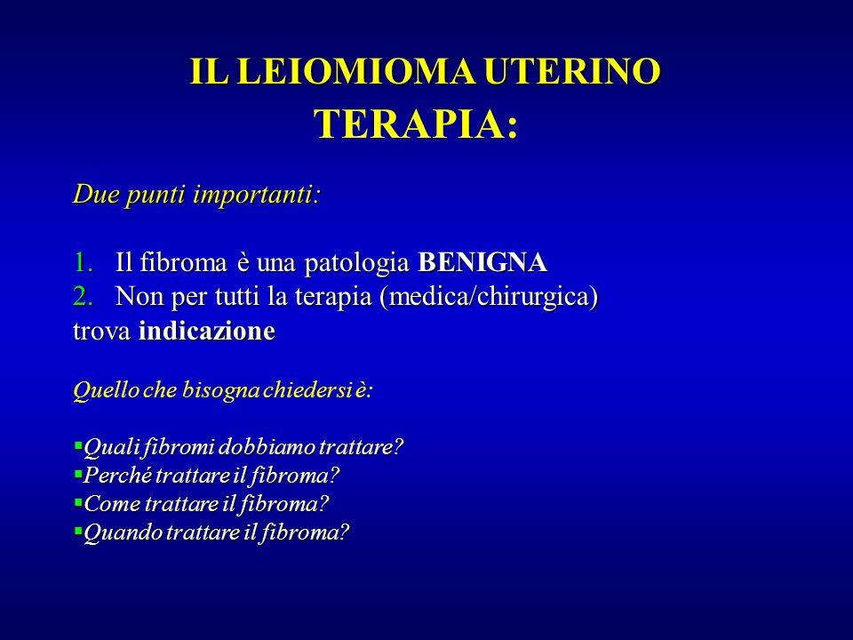 TERAPIA: Due punti importanti: 1.Il fibroma è una patologia BENIGNA 2.Non per tutti la terapia (medica/chirurgica) trova indicazione Quello che bisogn