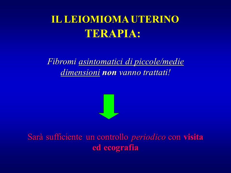 TERAPIA: Fibromi asintomatici di piccole/medie dimensioni non vanno trattati! Sarà sufficiente un controllo periodico con visita ed ecografia