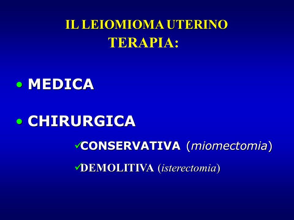 MEDICAMEDICA CHIRURGICACHIRURGICA CONSERVATIVA (miomectomia) CONSERVATIVA (miomectomia) DEMOLITIVA (isterectomia) DEMOLITIVA (isterectomia) IL LEIOMIO