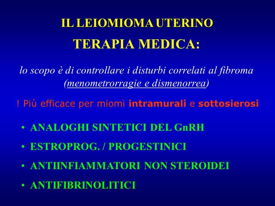TERAPIA MEDICA: lo scopo è di controllare i disturbi correlati al fibroma (menometrorragie e dismenorrea) ! Più efficace per miomi intramurali e sotto