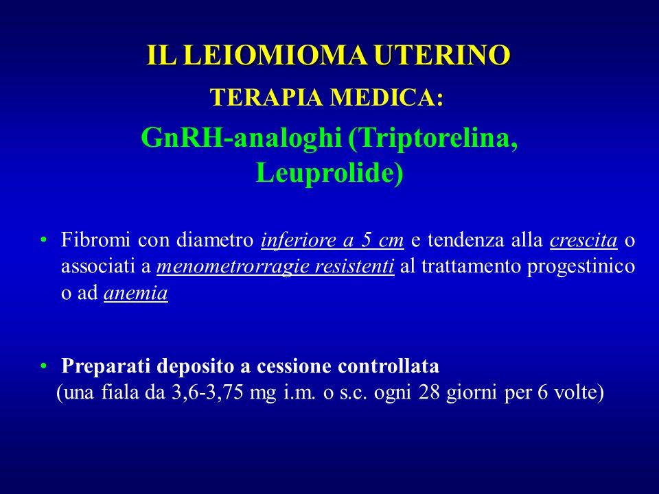 GnRH-analoghi (Triptorelina, Leuprolide) Preparati deposito a cessione controllata (una fiala da 3,6-3,75 mg i.m. o s.c. ogni 28 giorni per 6 volte) F