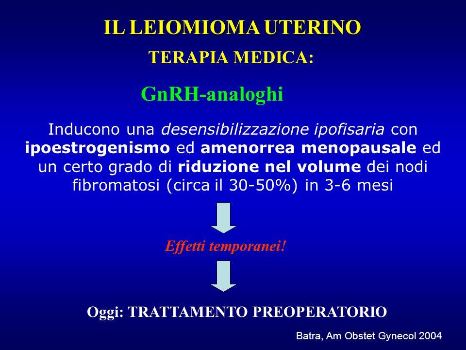 Inducono una desensibilizzazione ipofisaria con ipoestrogenismo ed amenorrea menopausale ed un certo grado di riduzione nel volume dei nodi fibromatos