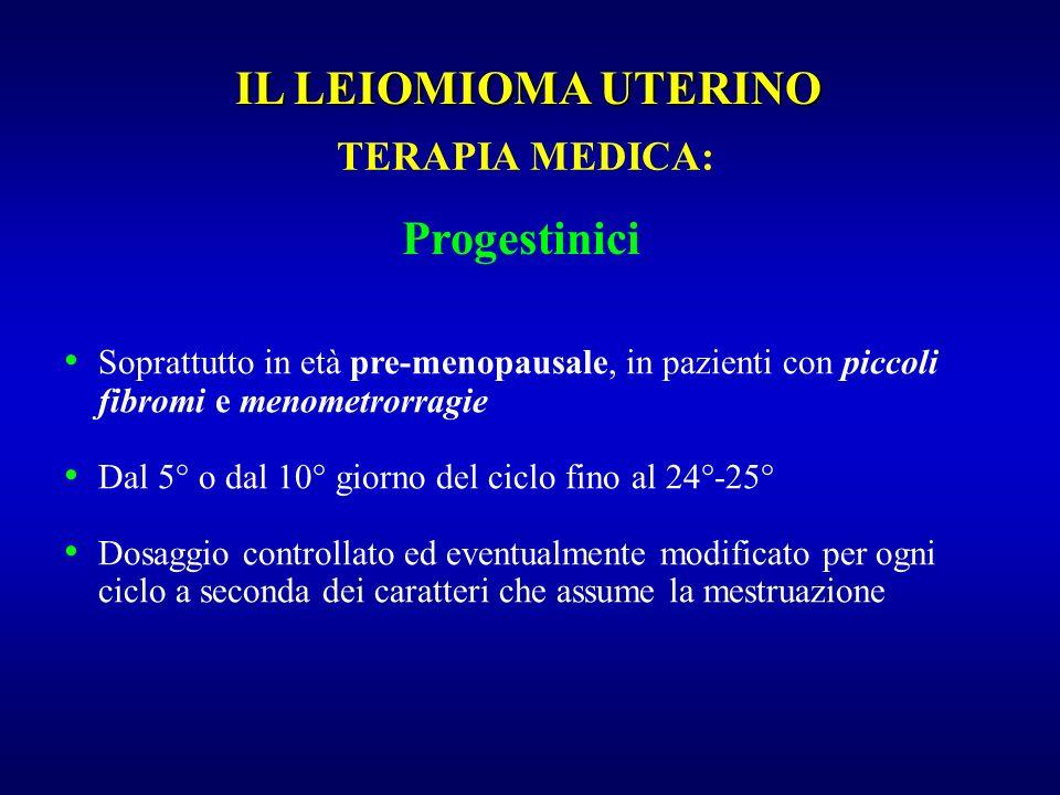 Progestinici Soprattutto in età pre-menopausale, in pazienti con piccoli fibromi e menometrorragie Dal 5° o dal 10° giorno del ciclo fino al 24°-25° D