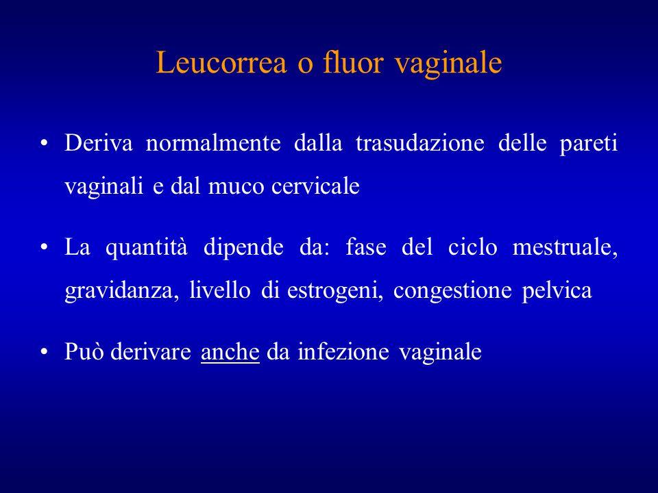 Leucorrea o fluor vaginale Deriva normalmente dalla trasudazione delle pareti vaginali e dal muco cervicale La quantità dipende da: fase del ciclo mes