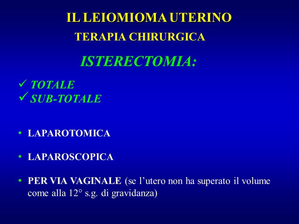 TERAPIA CHIRURGICA IL LEIOMIOMA UTERINO ISTERECTOMIA: TOTALE SUB-TOTALE LAPAROTOMICA LAPAROSCOPICA PER VIA VAGINALE (se lutero non ha superato il volu