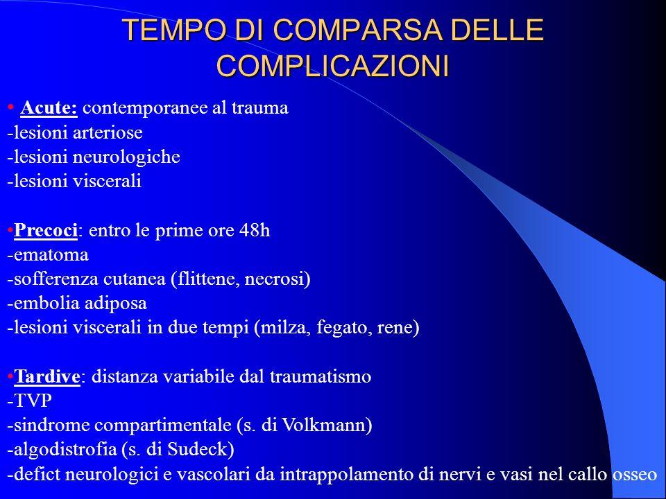 TEMPO DI COMPARSA DELLE COMPLICAZIONI Acute: contemporanee al trauma -lesioni arteriose -lesioni neurologiche -lesioni viscerali Precoci: entro le prime ore 48h -ematoma -sofferenza cutanea (flittene, necrosi) -embolia adiposa -lesioni viscerali in due tempi (milza, fegato, rene) Tardive: distanza variabile dal traumatismo -TVP -sindrome compartimentale (s.
