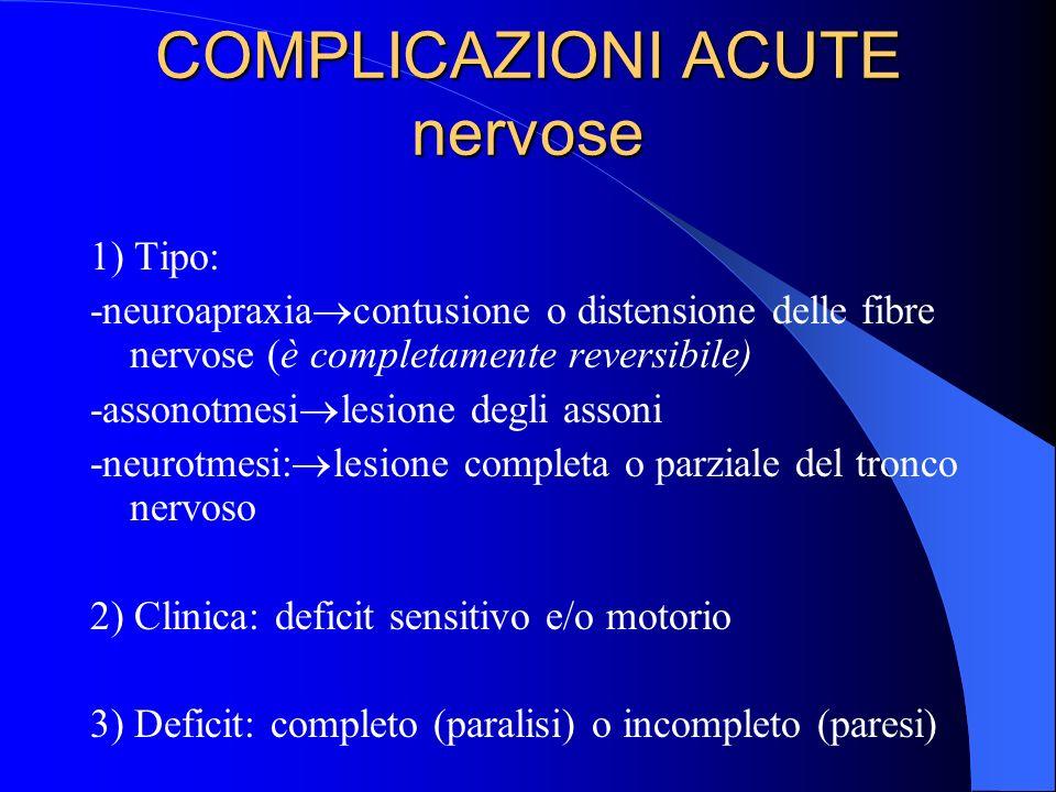 COMPLICAZIONI ACUTE nervose 1) Tipo: -neuroapraxia contusione o distensione delle fibre nervose (è completamente reversibile) -assonotmesi lesione degli assoni -neurotmesi: lesione completa o parziale del tronco nervoso 2) Clinica: deficit sensitivo e/o motorio 3) Deficit: completo (paralisi) o incompleto (paresi)