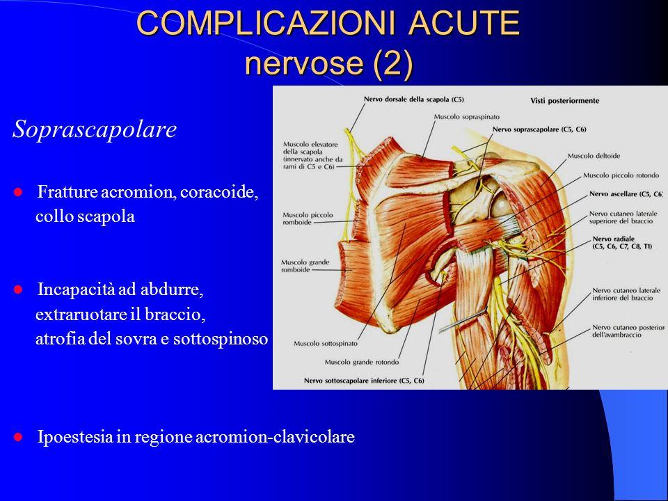 COMPLICAZIONI ACUTE nervose (2) Soprascapolare Fratture acromion, coracoide, collo scapola Incapacità ad abdurre, extraruotare il braccio, atrofia del sovra e sottospinoso Ipoestesia in regione acromion-clavicolare
