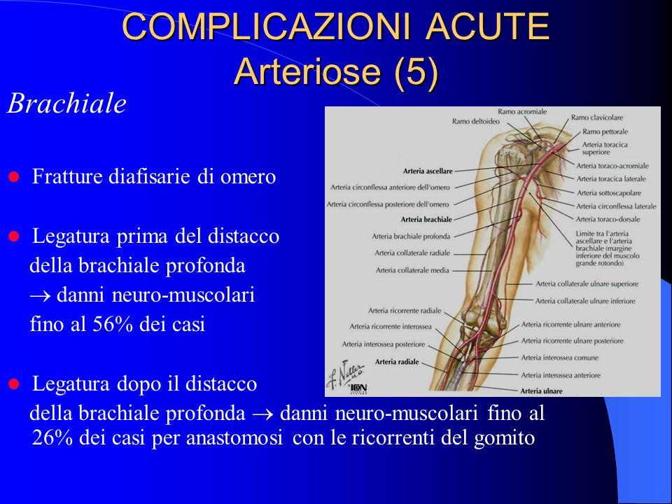 COMPLICAZIONI ACUTE Arteriose (5) Brachiale Fratture diafisarie di omero Legatura prima del distacco della brachiale profonda danni neuro-muscolari fino al 56% dei casi Legatura dopo il distacco della brachiale profonda danni neuro-muscolari fino al 26% dei casi per anastomosi con le ricorrenti del gomito