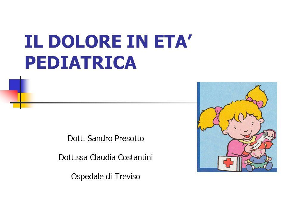 IL DOLORE IN ETA PEDIATRICA Dott. Sandro Presotto Dott.ssa Claudia Costantini Ospedale di Treviso