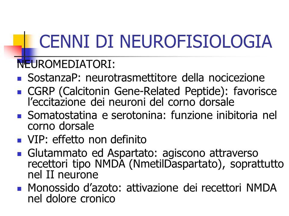 CENNI DI NEUROFISIOLOGIA NEUROMEDIATORI: SostanzaP: neurotrasmettitore della nocicezione CGRP (Calcitonin Gene-Related Peptide): favorisce leccitazion