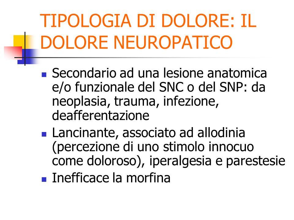 TIPOLOGIA DI DOLORE: IL DOLORE NEUROPATICO Secondario ad una lesione anatomica e/o funzionale del SNC o del SNP: da neoplasia, trauma, infezione, deafferentazione Lancinante, associato ad allodinia (percezione di uno stimolo innocuo come doloroso), iperalgesia e parestesie Inefficace la morfina