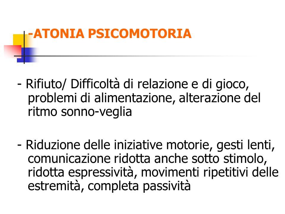 -ATONIA PSICOMOTORIA - Rifiuto/ Difficoltà di relazione e di gioco, problemi di alimentazione, alterazione del ritmo sonno-veglia - Riduzione delle in
