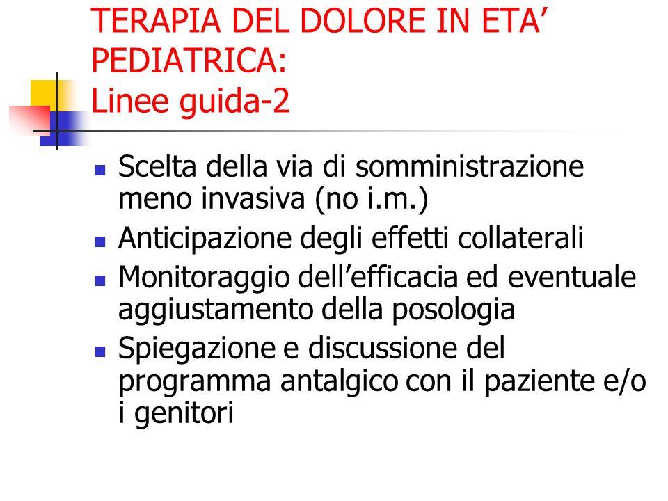 TERAPIA DEL DOLORE IN ETA PEDIATRICA: Linee guida-2 Scelta della via di somministrazione meno invasiva (no i.m.) Anticipazione degli effetti collatera