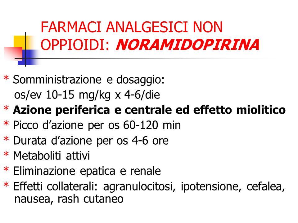 FARMACI ANALGESICI NON OPPIOIDI: NORAMIDOPIRINA * Somministrazione e dosaggio: os/ev 10-15 mg/kg x 4-6/die * Azione periferica e centrale ed effetto miolitico * Picco dazione per os 60-120 min * Durata dazione per os 4-6 ore * Metaboliti attivi * Eliminazione epatica e renale * Effetti collaterali: agranulocitosi, ipotensione, cefalea, nausea, rash cutaneo