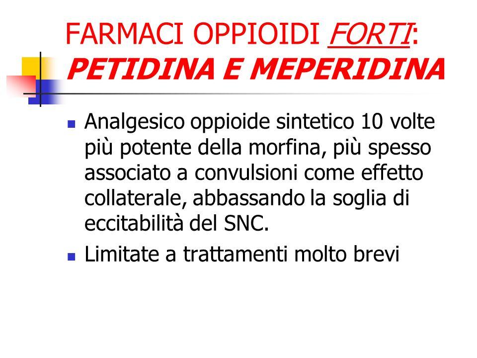FARMACI OPPIOIDI FORTI: PETIDINA E MEPERIDINA Analgesico oppioide sintetico 10 volte più potente della morfina, più spesso associato a convulsioni come effetto collaterale, abbassando la soglia di eccitabilità del SNC.