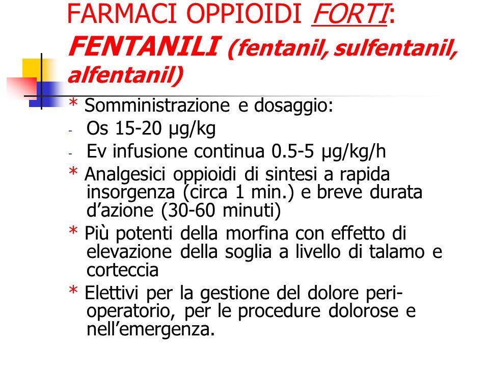 FARMACI OPPIOIDI FORTI: FENTANILI (fentanil, sulfentanil, alfentanil) * Somministrazione e dosaggio: - Os 15-20 µg/kg - Ev infusione continua 0.5-5 µg