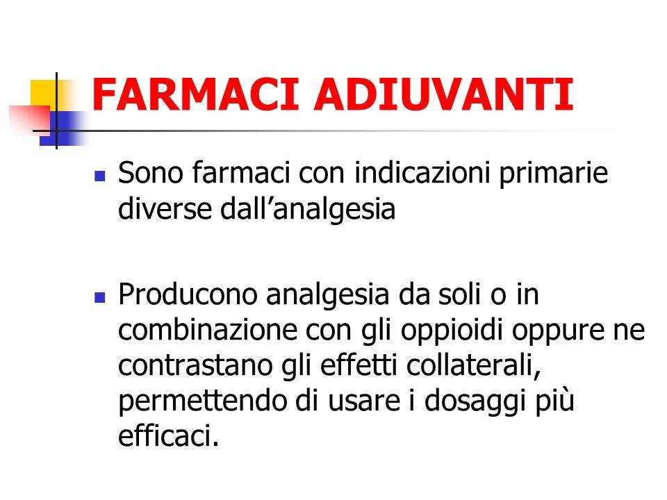 FARMACI ADIUVANTI Sono farmaci con indicazioni primarie diverse dallanalgesia Producono analgesia da soli o in combinazione con gli oppioidi oppure ne