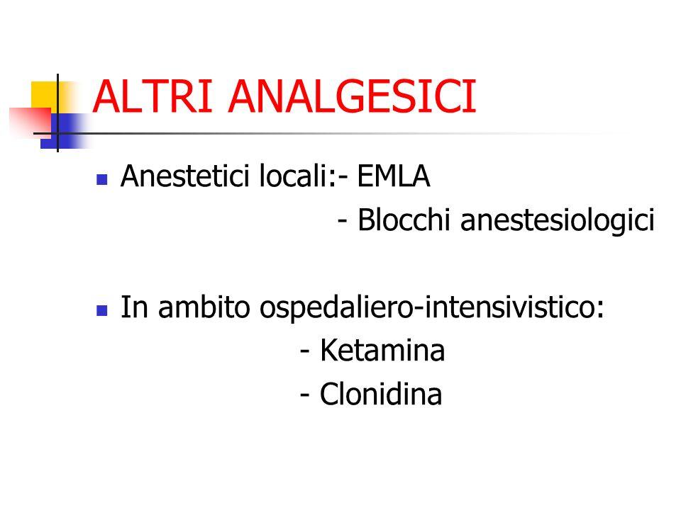 ALTRI ANALGESICI Anestetici locali:- EMLA - Blocchi anestesiologici In ambito ospedaliero-intensivistico: - Ketamina - Clonidina