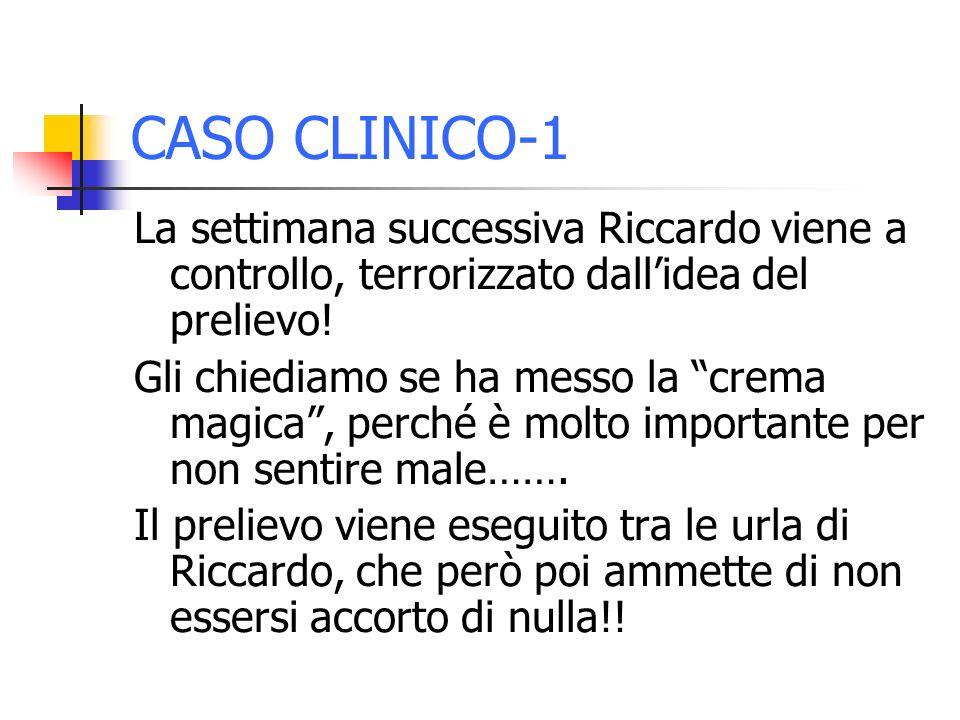 CASO CLINICO-1 La settimana successiva Riccardo viene a controllo, terrorizzato dallidea del prelievo! Gli chiediamo se ha messo la crema magica, perc