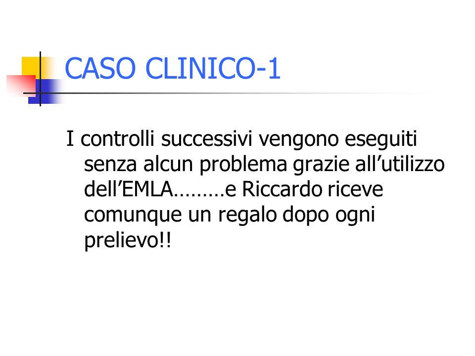 CASO CLINICO-1 I controlli successivi vengono eseguiti senza alcun problema grazie allutilizzo dellEMLA………e Riccardo riceve comunque un regalo dopo og