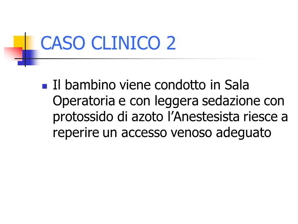 CASO CLINICO 2 Il bambino viene condotto in Sala Operatoria e con leggera sedazione con protossido di azoto lAnestesista riesce a reperire un accesso