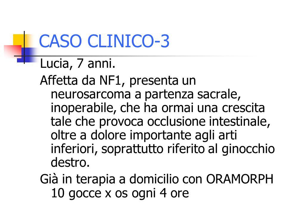 CASO CLINICO-3 Lucia, 7 anni. Affetta da NF1, presenta un neurosarcoma a partenza sacrale, inoperabile, che ha ormai una crescita tale che provoca occ