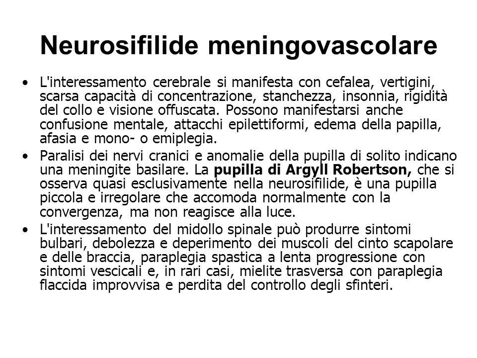 Neurosifilide meningovascolare L interessamento cerebrale si manifesta con cefalea, vertigini, scarsa capacità di concentrazione, stanchezza, insonnia, rigidità del collo e visione offuscata.