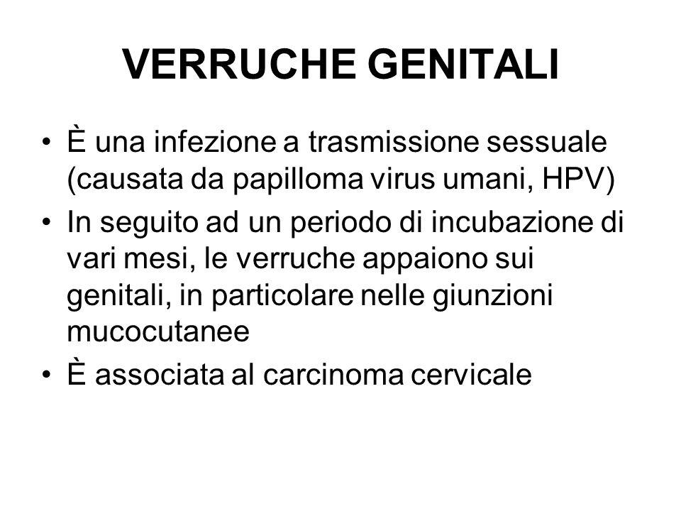 VERRUCHE GENITALI È una infezione a trasmissione sessuale (causata da papilloma virus umani, HPV) In seguito ad un periodo di incubazione di vari mesi, le verruche appaiono sui genitali, in particolare nelle giunzioni mucocutanee È associata al carcinoma cervicale