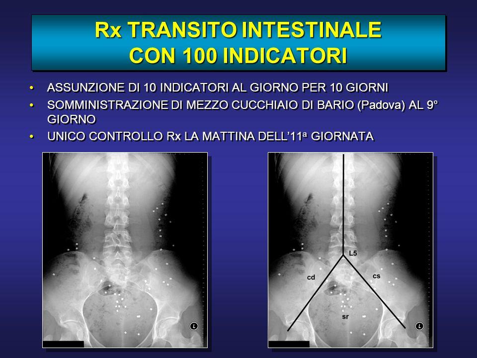 Rx TRANSITO INTESTINALE CON 100 INDICATORI ASSUNZIONE DI 10 INDICATORI AL GIORNO PER 10 GIORNI SOMMINISTRAZIONE DI MEZZO CUCCHIAIO DI BARIO (Padova) A