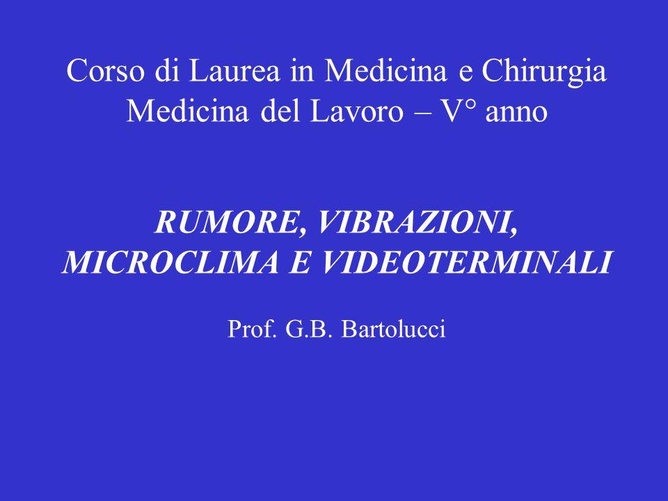 Corso di Laurea in Medicina e Chirurgia Medicina del Lavoro – V° anno RUMORE, VIBRAZIONI, MICROCLIMA E VIDEOTERMINALI Prof. G.B. Bartolucci