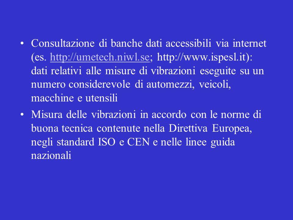 Consultazione di banche dati accessibili via internet (es. http://umetech.niwl.se; http://www.ispesl.it): dati relativi alle misure di vibrazioni eseg
