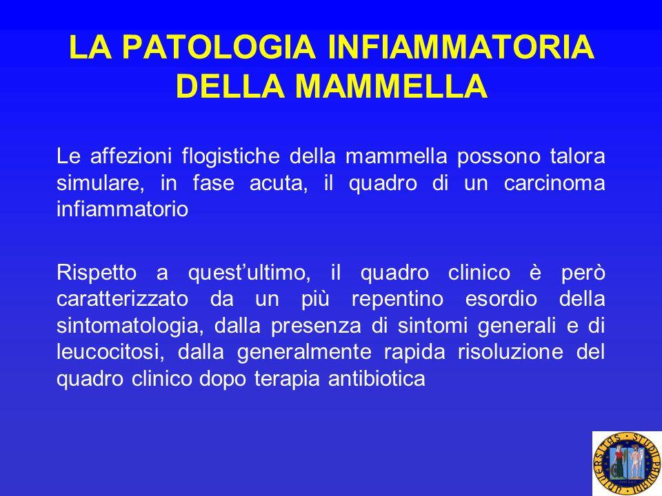 LA PATOLOGIA INFIAMMATORIA DELLA MAMMELLA Le affezioni flogistiche della mammella possono talora simulare, in fase acuta, il quadro di un carcinoma in