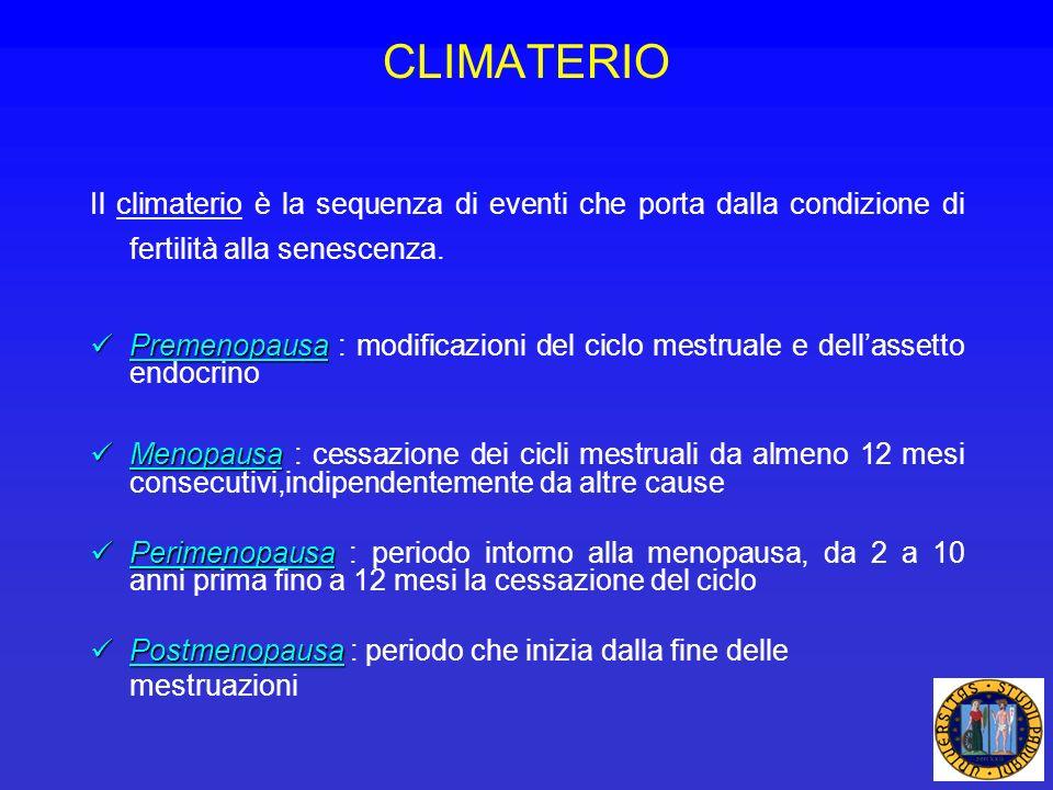 Il climaterio è la sequenza di eventi che porta dalla condizione di fertilità alla senescenza. Premenopausa Premenopausa : modificazioni del ciclo mes