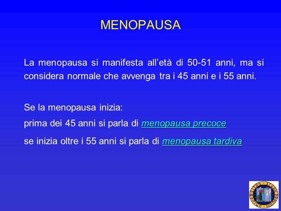 La menopausa si manifesta alletà di 50-51 anni, ma si considera normale che avvenga tra i 45 anni e i 55 anni. Se la menopausa inizia: menopausa preco