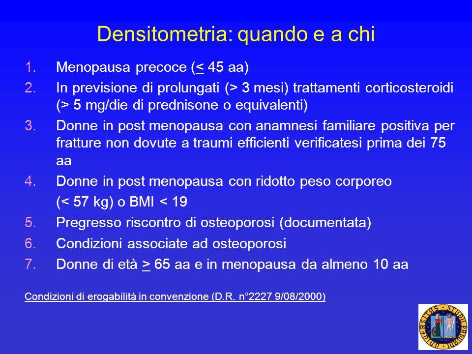 Densitometria: quando e a chi 1.Menopausa precoce (< 45 aa) 2.In previsione di prolungati (> 3 mesi) trattamenti corticosteroidi (> 5 mg/die di predni