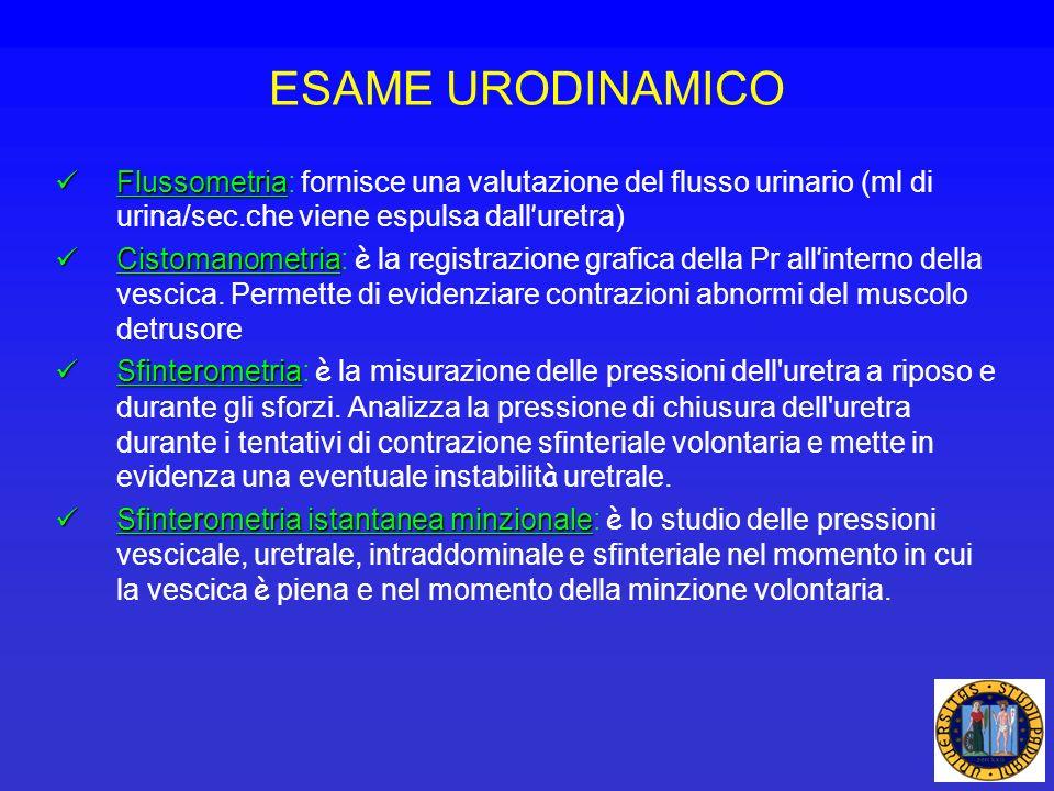 ESAME URODINAMICO Flussometria Flussometria: fornisce una valutazione del flusso urinario (ml di urina/sec.che viene espulsa dall uretra) Cistomanomet