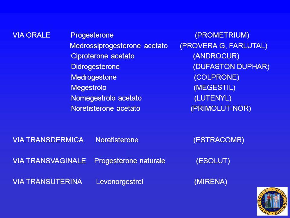 VIA ORALE Progesterone (PROMETRIUM) Medrossiprogesterone acetato (PROVERA G, FARLUTAL) Ciproterone acetato (ANDROCUR) Didrogesterone (DUFASTON DUPHAR)