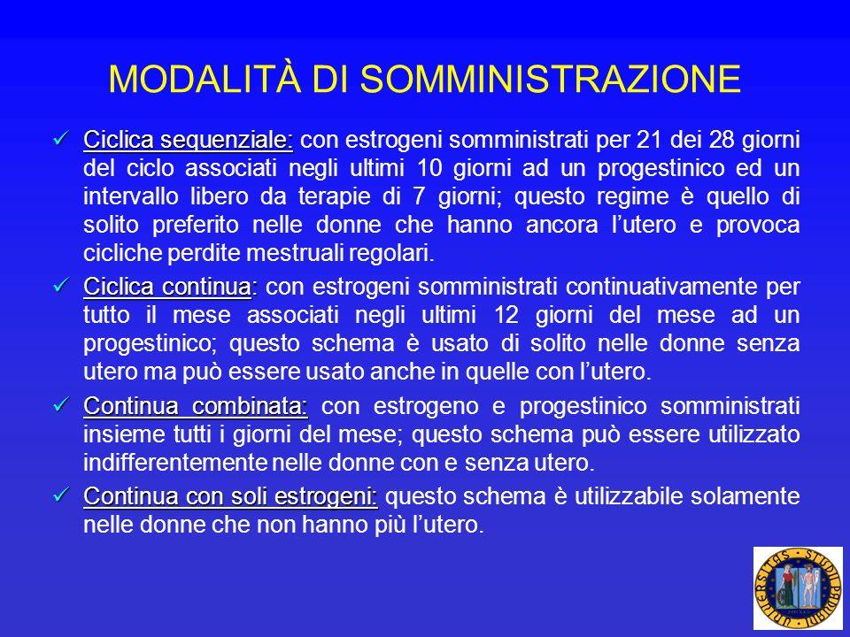 MODALITÀ DI SOMMINISTRAZIONE Ciclica sequenziale: Ciclica sequenziale: con estrogeni somministrati per 21 dei 28 giorni del ciclo associati negli ulti