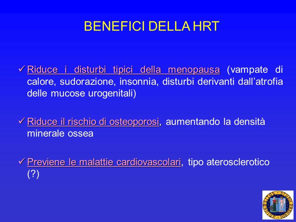 BENEFICI DELLA HRT Riduce i disturbi tipici della menopausa Riduce i disturbi tipici della menopausa (vampate di calore, sudorazione, insonnia, distur