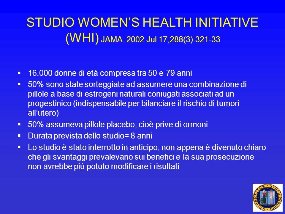 STUDIO WOMENS HEALTH INITIATIVE (WHI) JAMA. 2002 Jul 17;288(3):321-33 16.000 donne di età compresa tra 50 e 79 anni 50% sono state sorteggiate ad assu