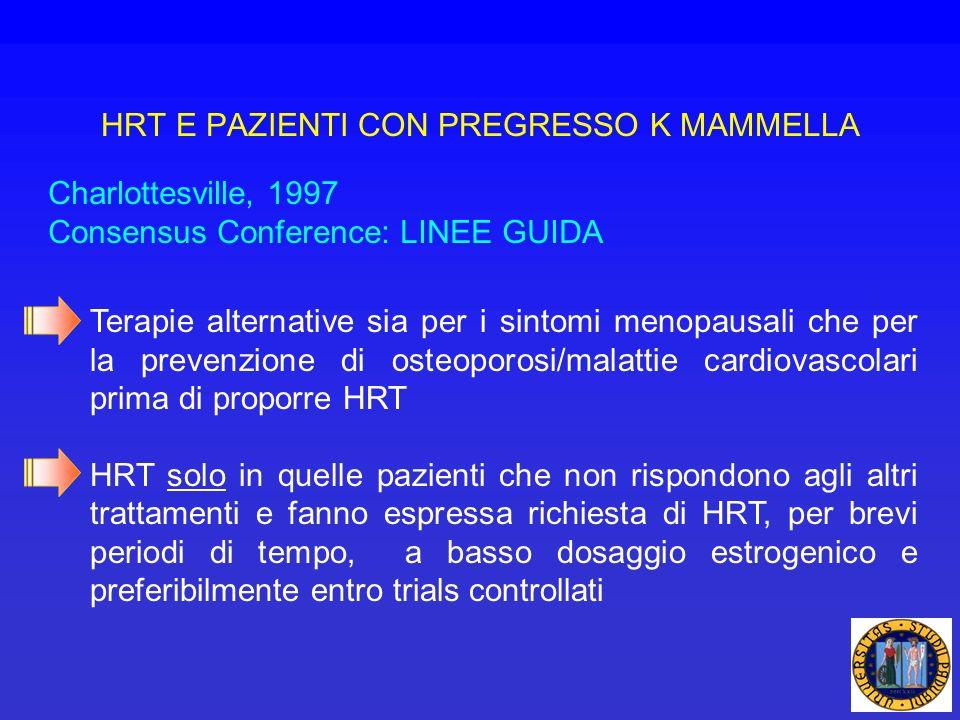 Charlottesville, 1997 Consensus Conference: LINEE GUIDA Terapie alternative sia per i sintomi menopausali che per la prevenzione di osteoporosi/malatt