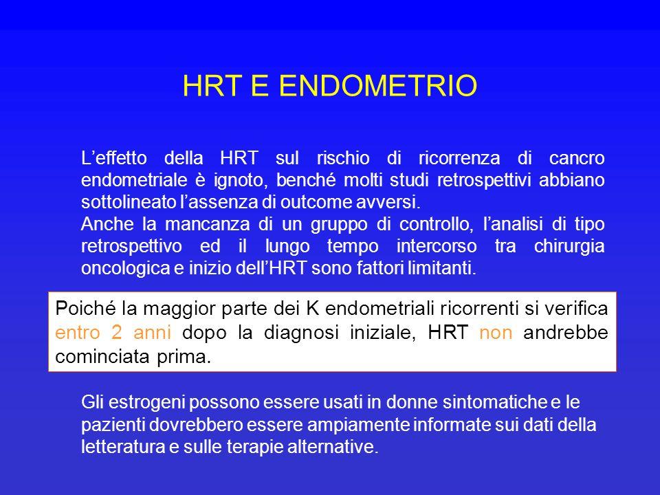 HRT E ENDOMETRIO Leffetto della HRT sul rischio di ricorrenza di cancro endometriale è ignoto, benché molti studi retrospettivi abbiano sottolineato l