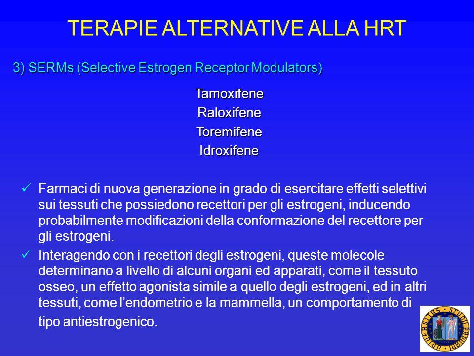 TERAPIE ALTERNATIVE ALLA HRT 3) SERMs (Selective Estrogen Receptor Modulators) TamoxifeneRaloxifeneToremifeneIdroxifene Farmaci di nuova generazione i